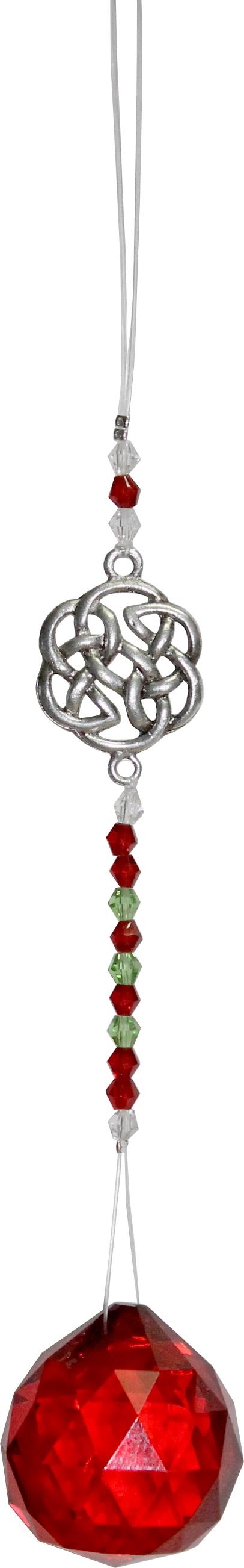 Hangend Kristal Geslepen Glas met Kralen & Keltische Knoop - Rood