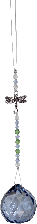 Hangend Kristal Geslepen Glas met Libelle - Lichtblauw