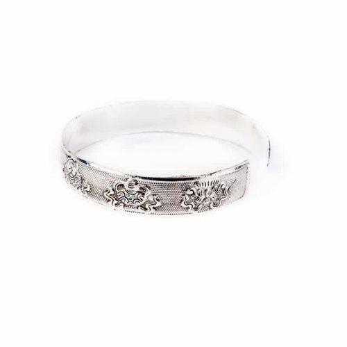 Tribal 8 Voorspoedsymbolen Miao Zilveren Armband