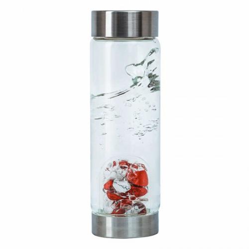 VitaJuwel ViA Edelsteen Waterfles Bergkristal, Rode Jaspis en Magnesiet - Fitness - 500 ml
