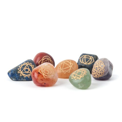 SET 7 Chakra Trommelstenen met Chakra Symbolen