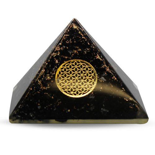 Orgone Pyramide van Zwarte Toermalijn met Flower of Life (70 mm)