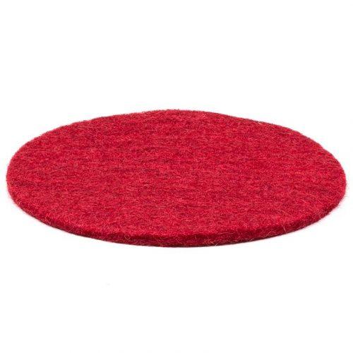 Vilten Onderzetter Rood voor Klankschaal (Handgemaakt) 10 cm
