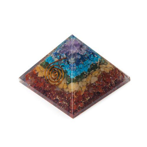 Orgoniet Piramide 7 Chakra met Koperen Spiraal (70 mm)