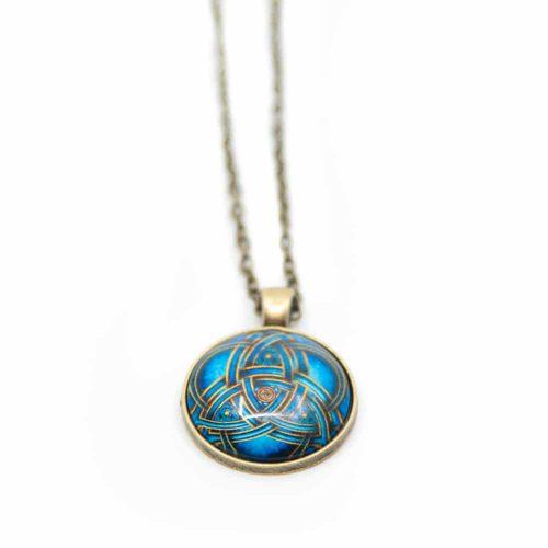 Blauwe Mandala & Levensknoop Ketting