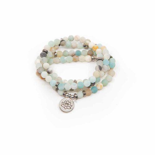 Mala Armband Amazoniet Elastisch met Lotus Lang