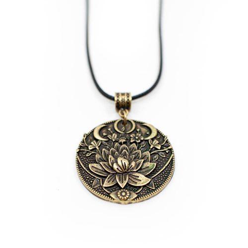 Tibetaanse Hanger Lotus & Maan - Goudkleurig