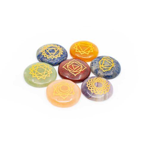7 Chakra Edelstenen met Gouden Symbolen