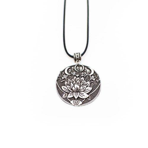 Tibetaanse Hanger Lotus & Maan - Zilverkleurig
