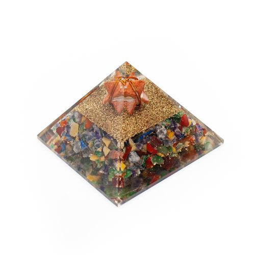 Orgonite Piramide Chakra/  Jaspis - Jaspis Merkaba - (70 mm)