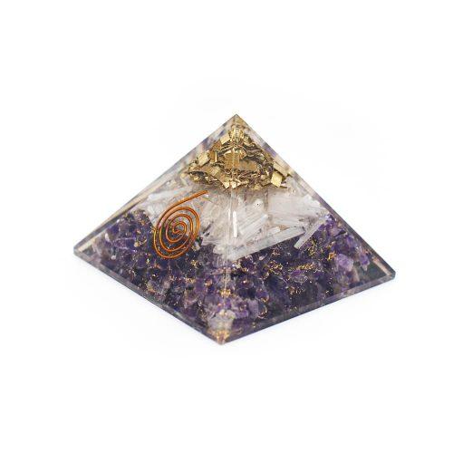 Orgonite Piramide Amethist/ Seleniet (70 mm)