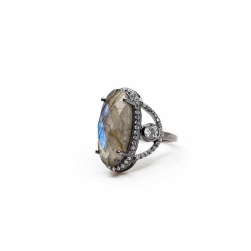 Labradoriet Edelsteen Ring 925 Zilver - A+ Kwaliteit