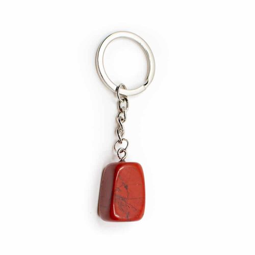 Edelsteen Sleutelhanger Rode Jaspis Zilverkleurig