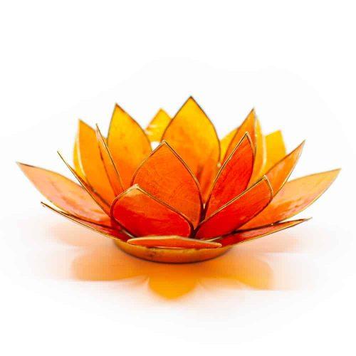 Lotus Sfeerlicht Oranje 2e Chakra Goudrand