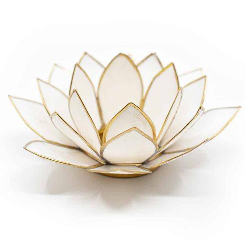 Lotus Sfeerlicht Wit Goudrand