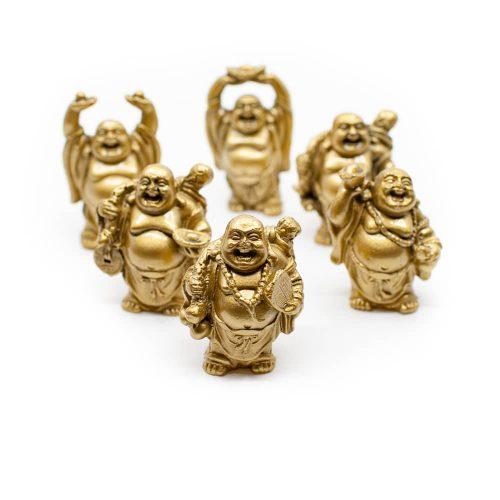 6 Geluksboeddha Mini-Beeldjes Staand – Goudkleurig – 7 cm