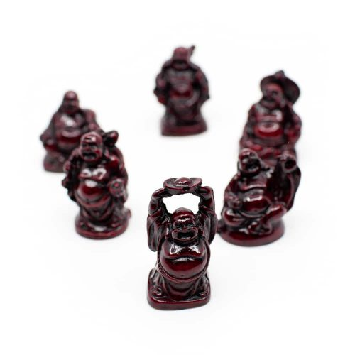Happy Boeddha Beeld Polyresin Rood - set van 6 - ca. 5 cm