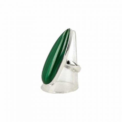 Zilveren Ring Malachiet (Model 3 maat 18)