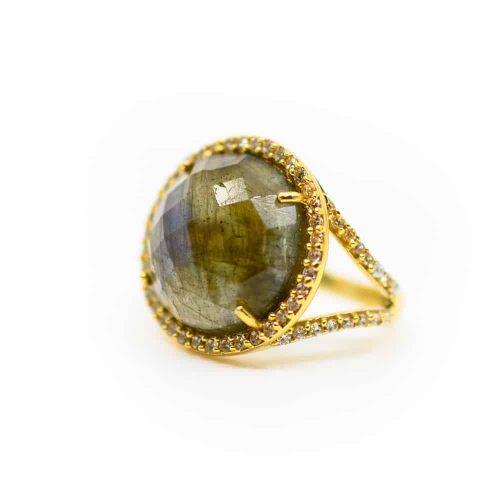"Labradoriet Edelsteen Ring 925 Zilver & Verguld ""Reflection"""