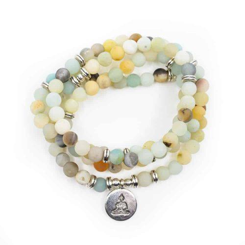 Mala Armband Amazoniet Elastisch met Boeddha (Model 2)