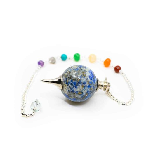 Pendel Lapis Lazuli Bolvorm met Edelsteenkralen