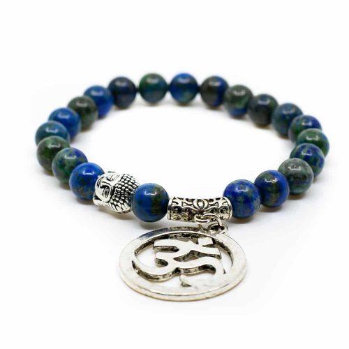 Azuriet Edelsteen Armband Ohm Boeddha