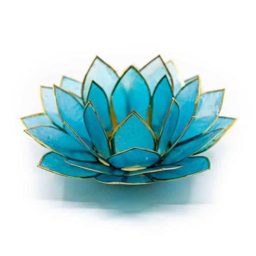 Lotus Sfeerlicht Blauw Goudrand - Deluxe