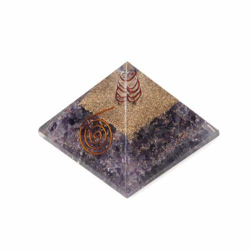 Orgonite Piramide Amethist - Koperen Spiraal - (70 mm)