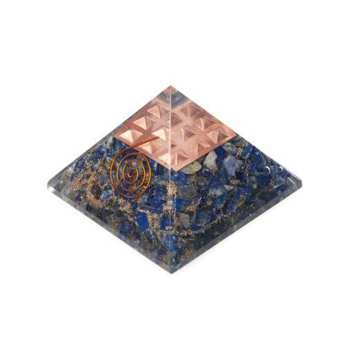Orgonite Piramide Lapis Lazuli - Koperen Spiraal - (70 mm)