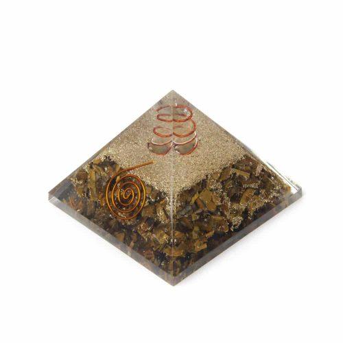 Orgone Piramide Tijgeroog met Bergkristal Punt (70 mm)