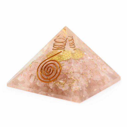 Orgonite Piramide Rozenkwarts - Flower of Life - (40 mm)