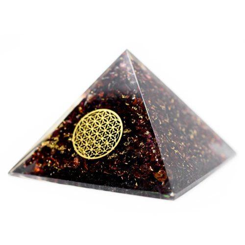 Orgonite Piramide Granaat - Bloem des Levens - (70 mm)