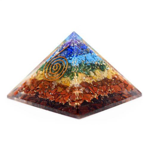 Orgonite Piramide 7 Chakra - Koperen Spiraal - (40 mm)
