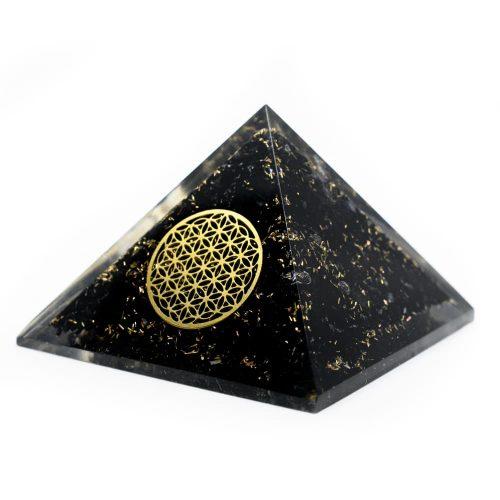 Orgonite Piramide Zwarte Toermalijn - Flower of Life - (40 mm)
