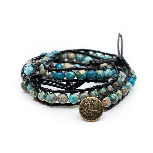 Edelsteen Armband Blauwe Agaat Wikkel Armband met Tree of Life
