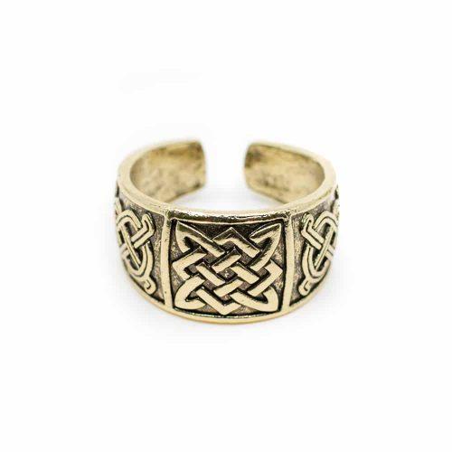 Viking Verstelbare Ring Keltische Knoop Goudkleurig