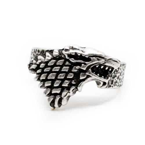Viking Ring Wolf Zilverkleurig