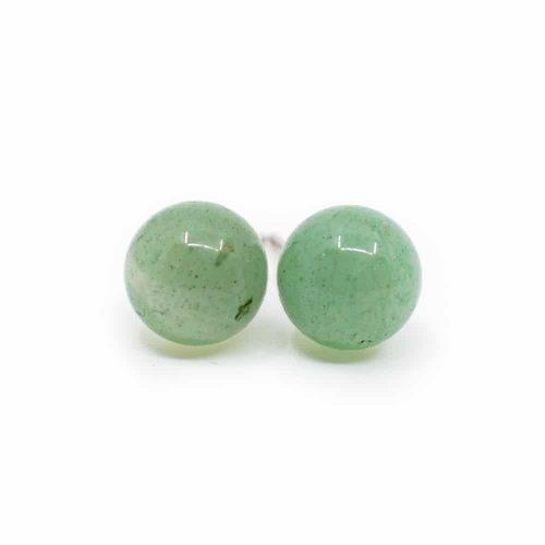 Zilveren Oorstekers Groene Aventurijn - 925 Sterling