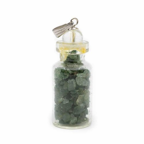 4e Chakra Fles Hanger Groene Aventurijn met Bergkristal