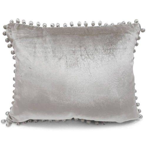 Fluwelen Kussen Pom Pom Beige (45 x 35 cm)
