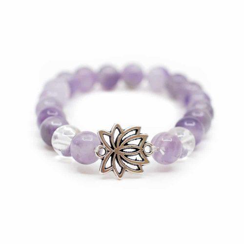 Edelsteen Armband Amethist/ Bergkristal met Lotus