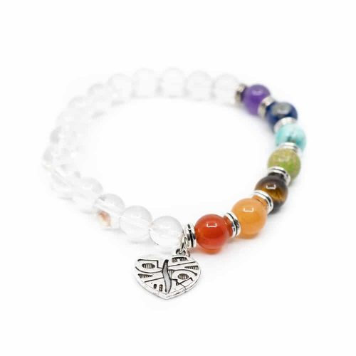 Edelstenen Armband 7 Chakra's en Bergkristal