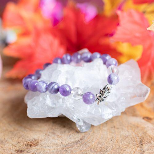 Edelsteen Armband Amethist en Bergkristal met Lotus