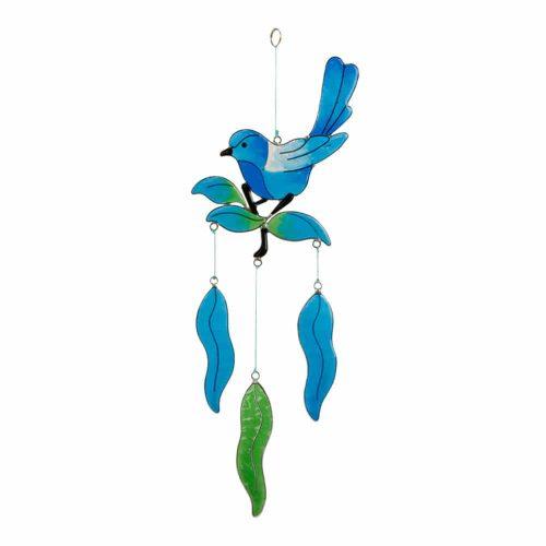 Raamdecoratie Hars Vogel op Bladeren (Blauw)