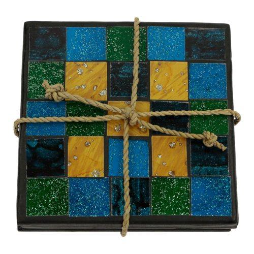 Mozaïeken Onderzetters Blauw-Groen-Goudkleurig (Set van 4)