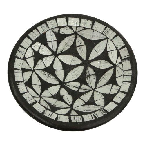 Ronde Sierschaal Mozaïek Bloemen Grijs (16 x 4 cm)