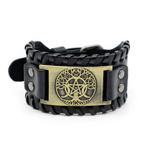 Viking Verstelbare Armband Noorse Tree of Life & Pentagram Kunstleer
