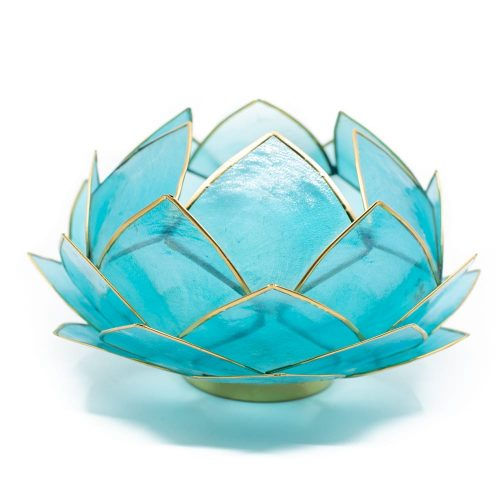 Lotus Sfeerlicht Blauw Goudrand Groot