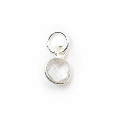 Geboortesteen Hanger April Bergkristal 925 Zilver (6 mm)