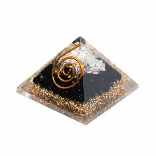 Orgonite Piramide Mini Zwarte Toermalijn & Bergkristal (25 mm)